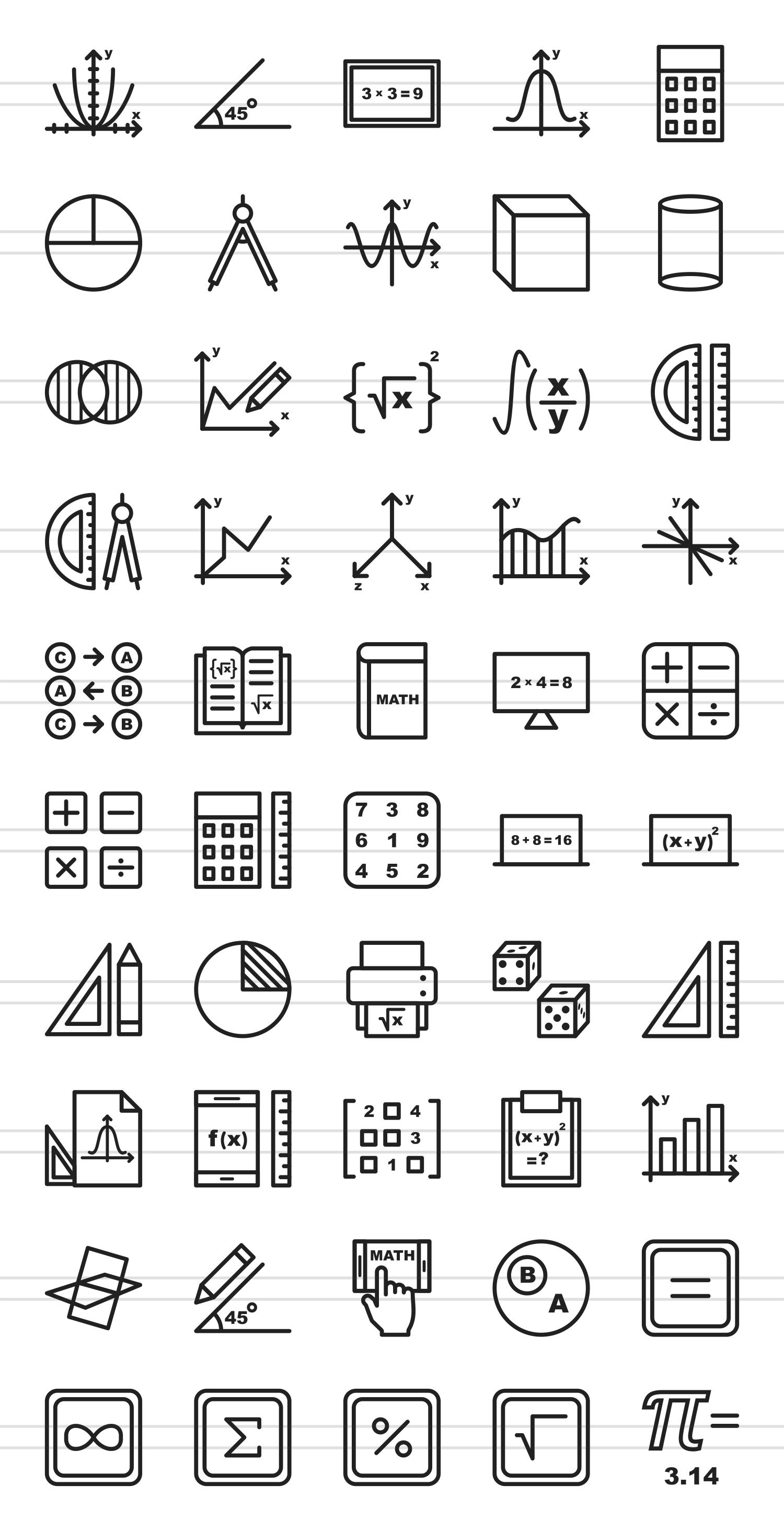 50 Math Symbols Line Icons By Iconbunny Design Bundles