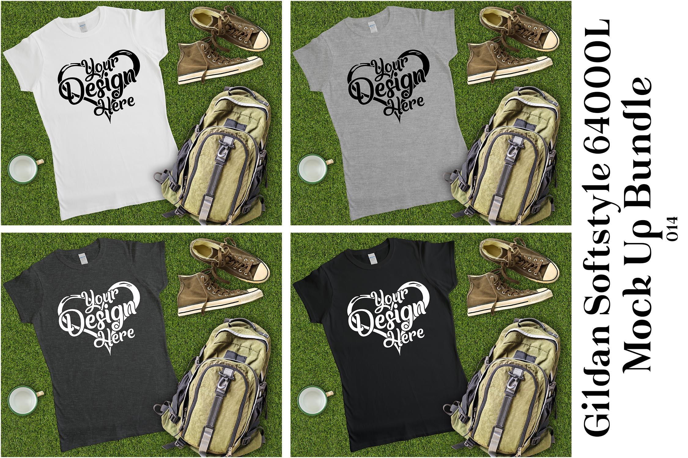 Gildan Ladies T-Shirt Mockup Mega Bundle Flat Lay 64000L example image 11