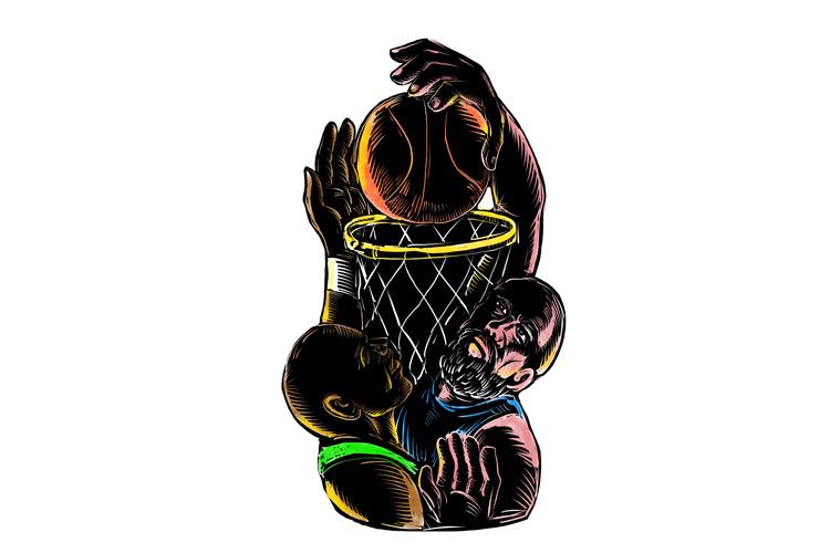 Basketball Player Dunking Blocking Ball Tattoo example image 1