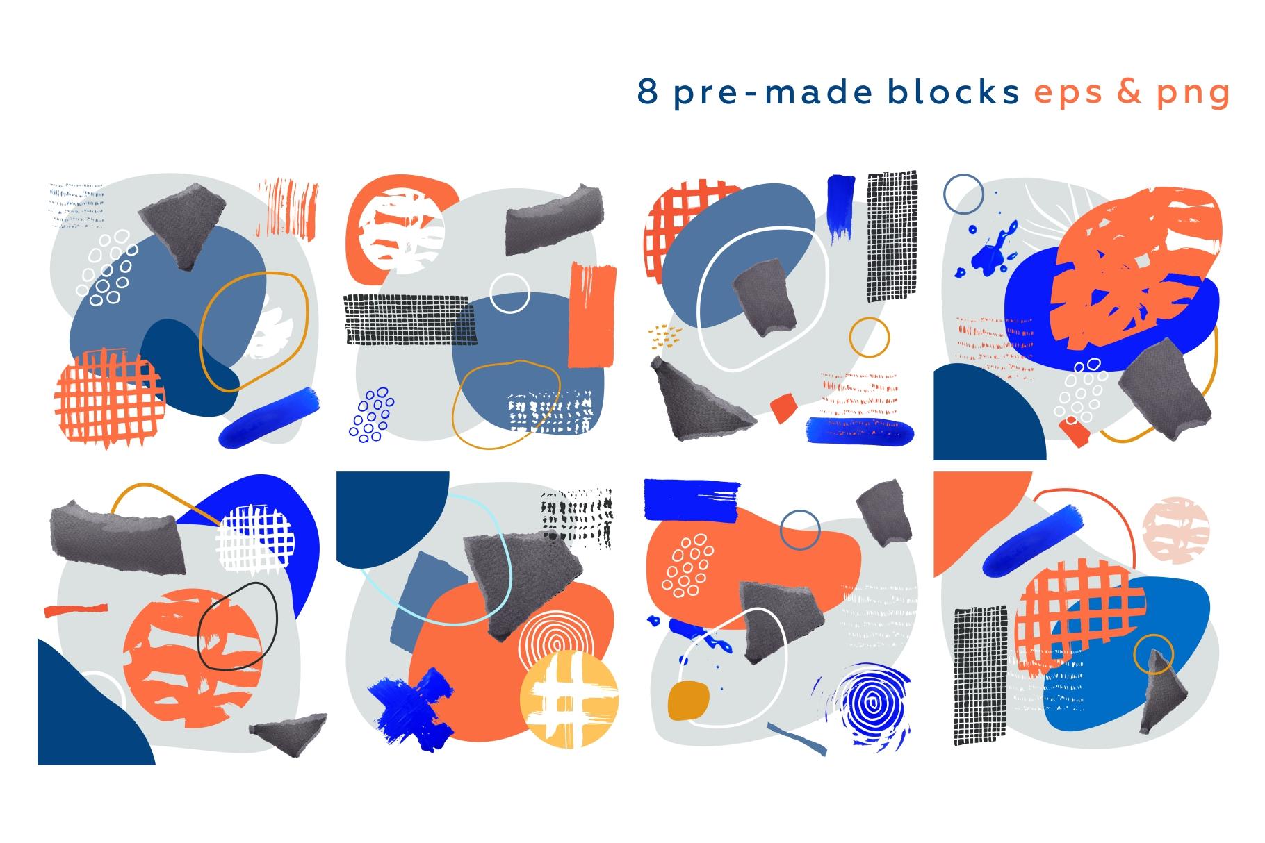 Shake this art! Collage pattern set. example image 11