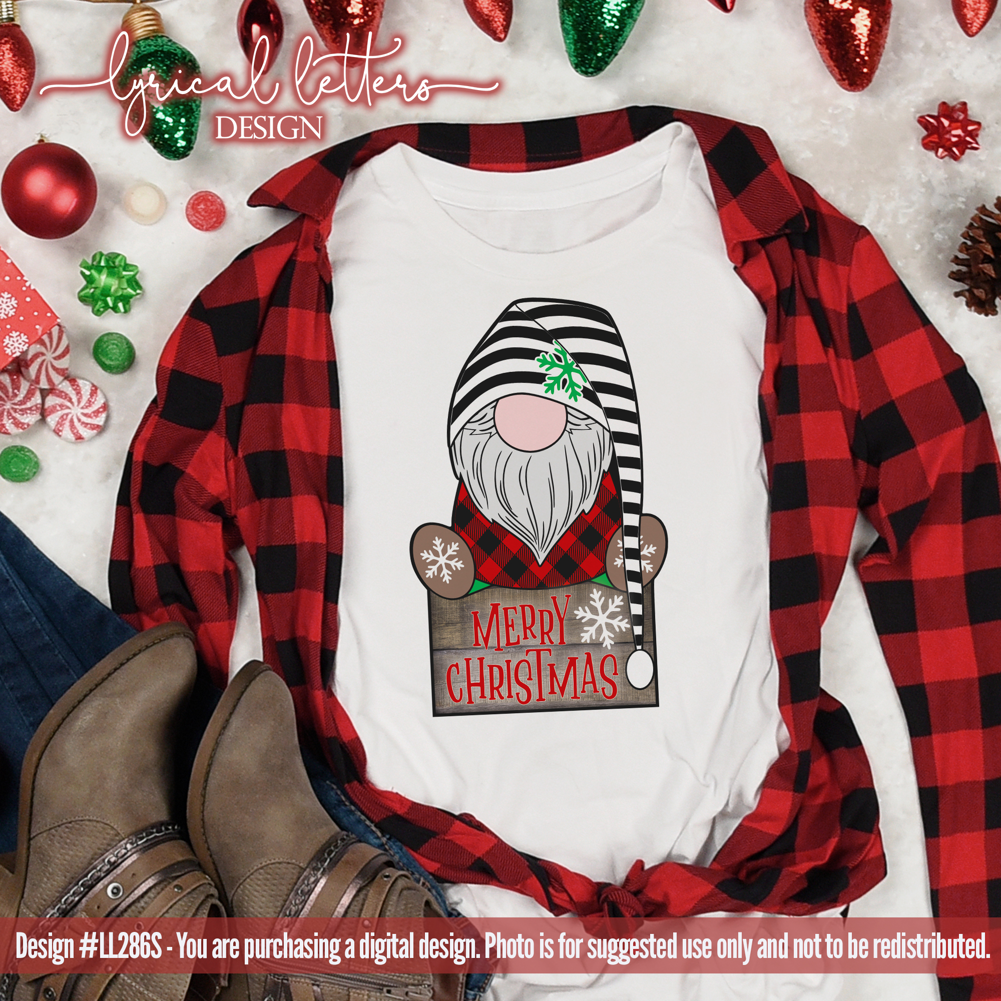 NEW! Merry Christmas Gnome SUBLIMATION Printable PNG LL286 example image 3