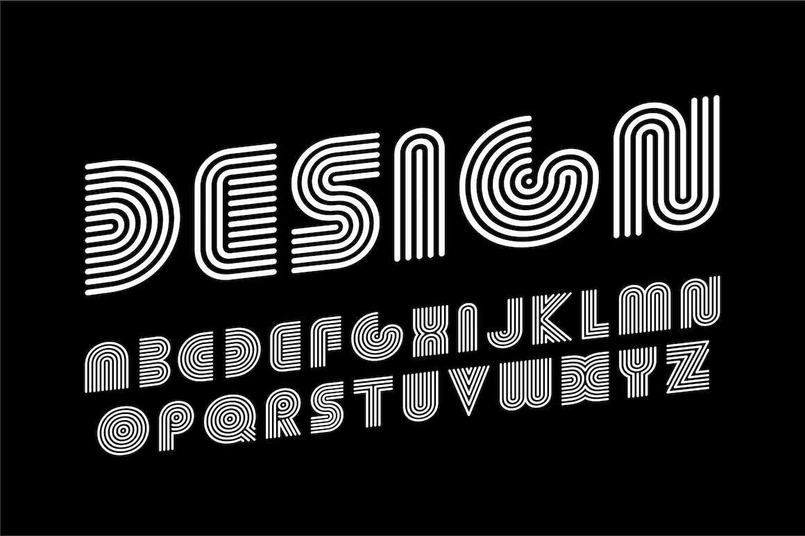 Striped english creative letters example image 1