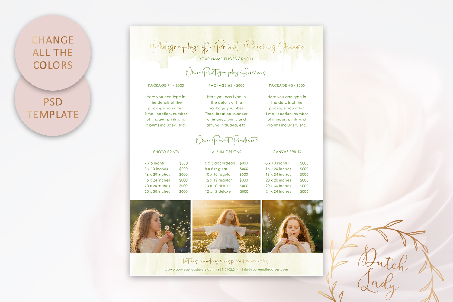 PSD Photography Pricing Guide Template Design #8 example image 4