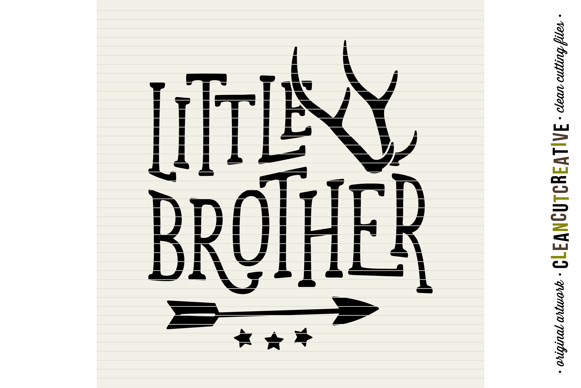 LITTLE BROTHER cutfile design with antlers and arrow - SVG DXF EPS PNG - cut file cutting file clipart - Cricut and Silhouette - clean cutting files example image 3