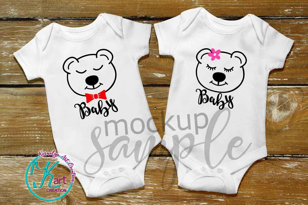 Flat Blank White Baby Mockup, White Baby Bodysuit mock up example image 2