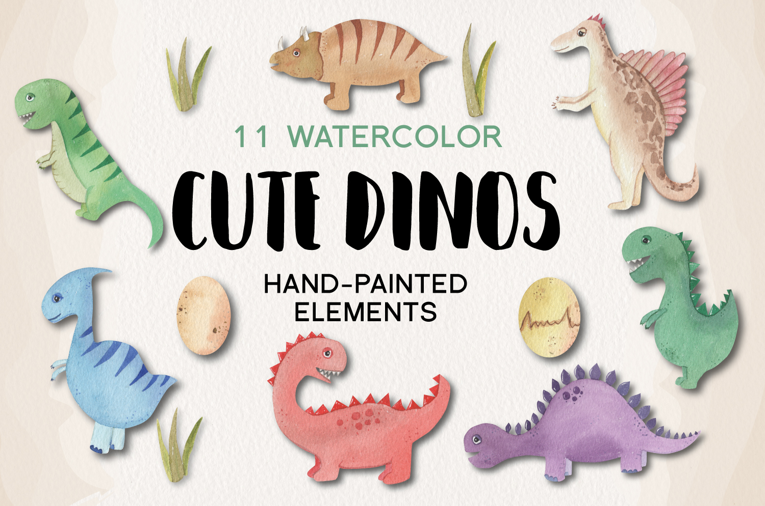 Cute Dinosaur 11 Hand Painted Watercolor Dino Eggs Trex example image 1