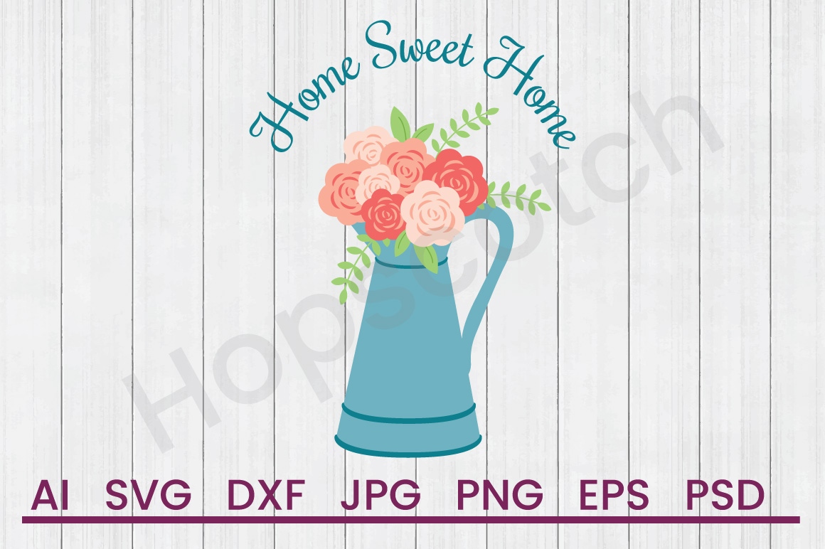 Pot of Flowers SVG, Home SVG, DXF File, Cuttatable File example image 1