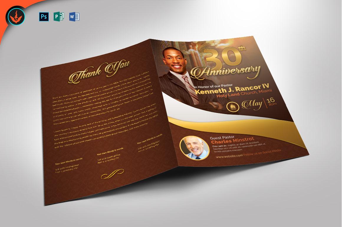 Gold Pastor's Anniversary Program Photoshop, Word, Publisher example image 1