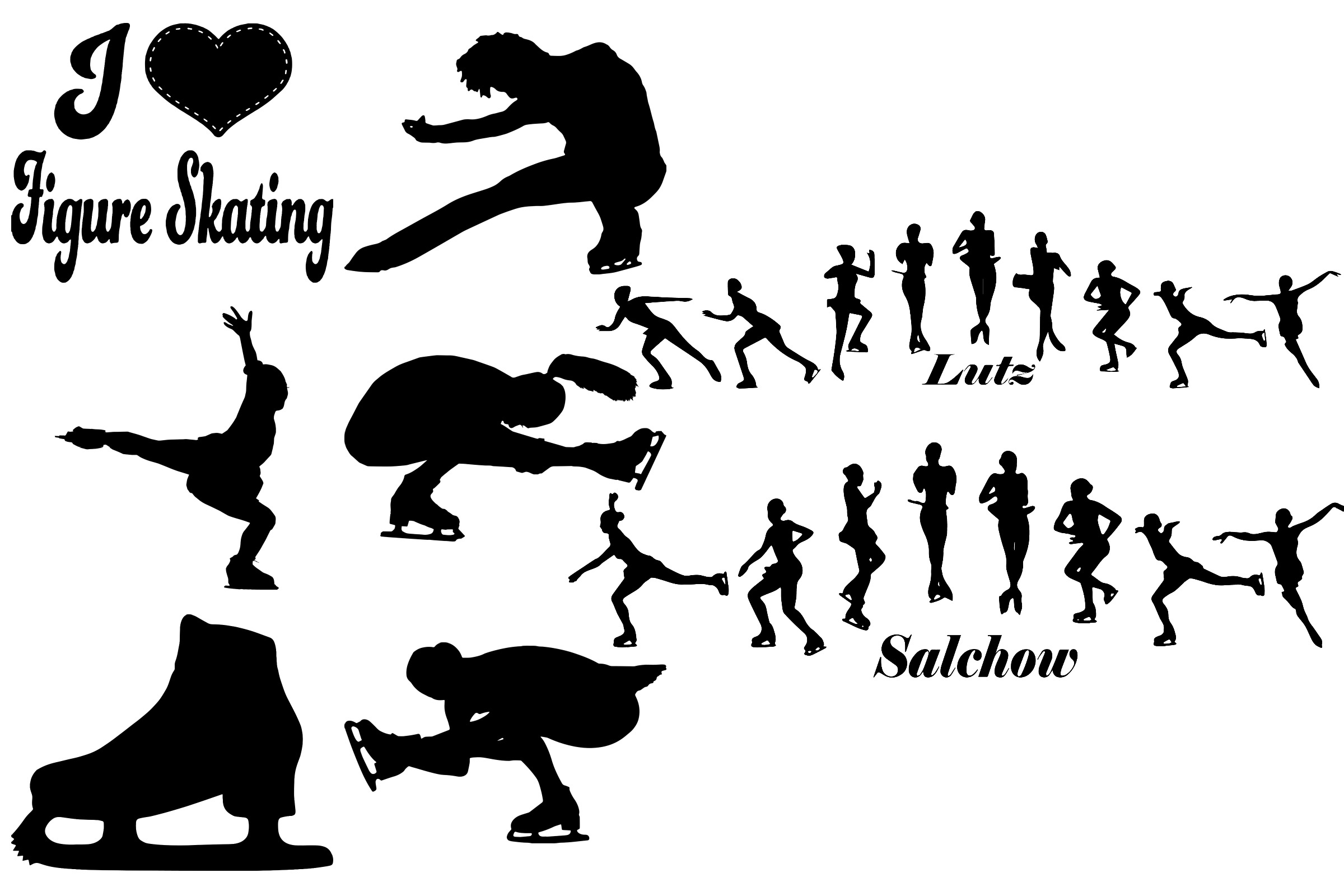 Ice Skating Silhouettes AI EPS PNG, Figure Skating example image 6
