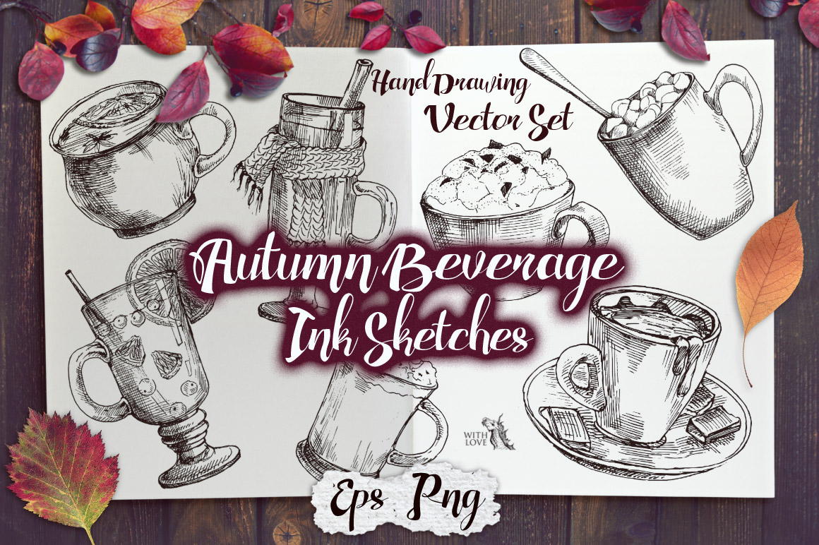 Autumn Beverage Ink Sketches example image 1