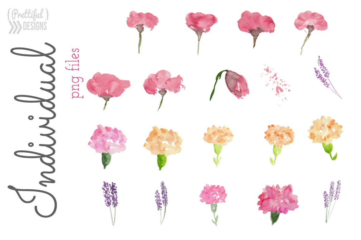 Watercolor Flower Clip art - Flirty example image 5