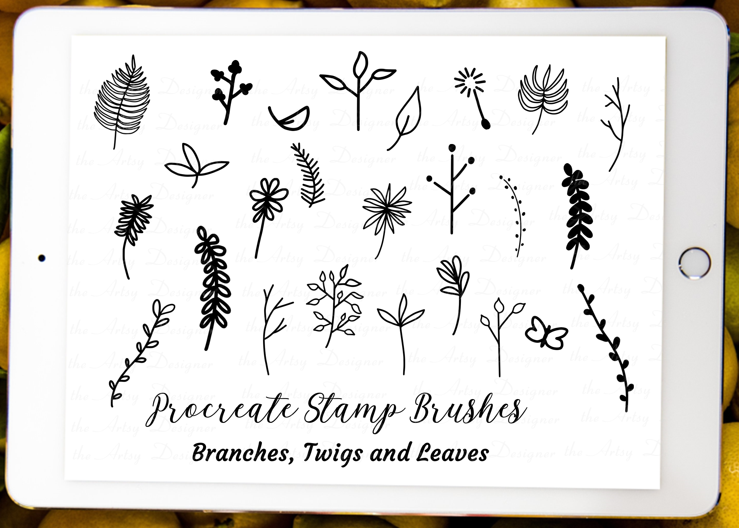 Procreate Brushes Stamps Branches Leaves Twigs Plants Bundle example image 2