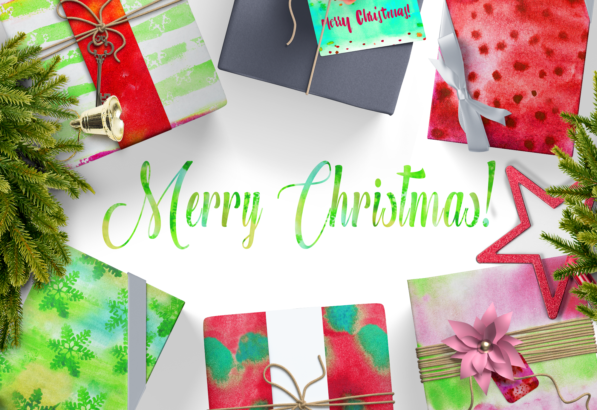 Watercolor Textures Kit - Christmas example image 2