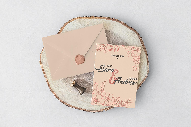 Pink floral wedding invitation set example image 3