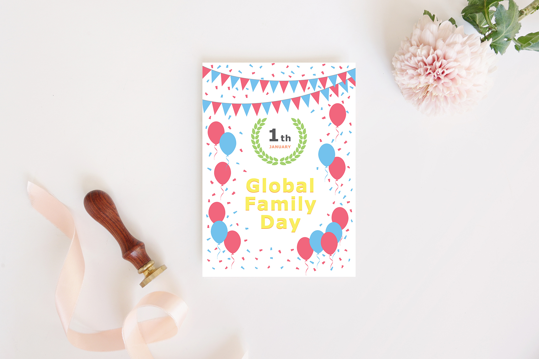 January 01 - Global Family Day. Greeting Card. example image 4