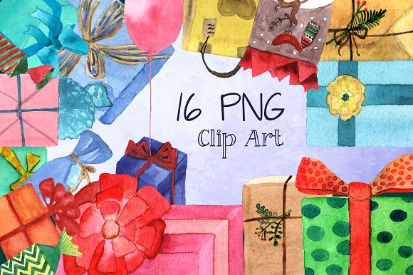 16 PNG Watercolor Presents Clip Art example image 1