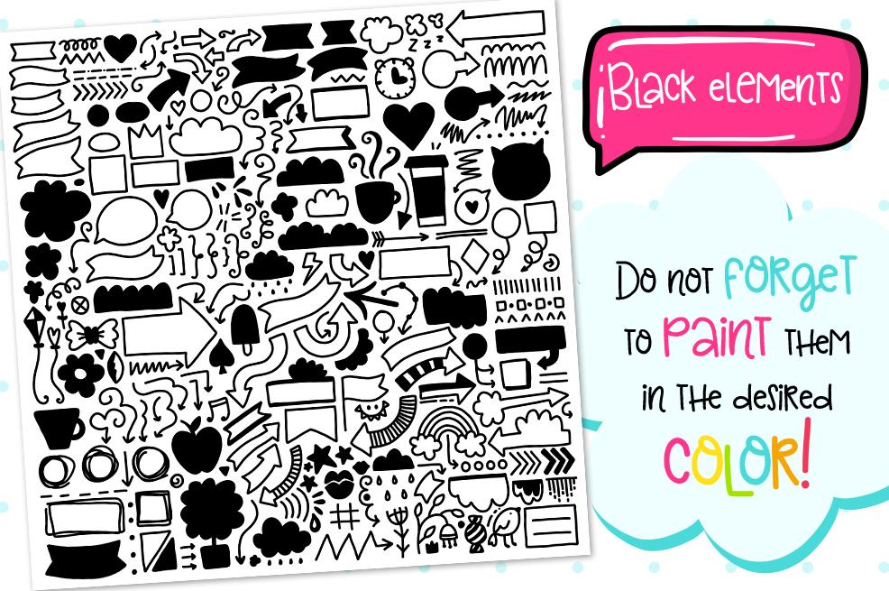 700 Doodles & Patterns - Clipart Set example image 3