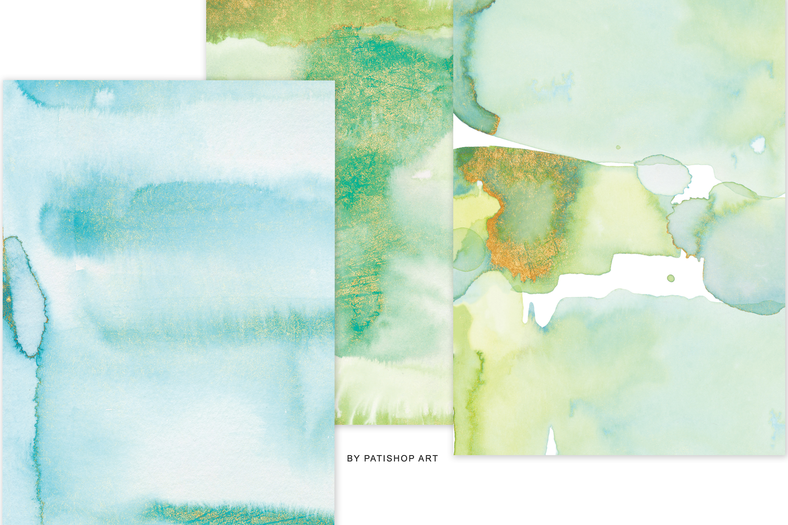 Watercolor Glittered Green & Turquoise Background 5x7 example image 6
