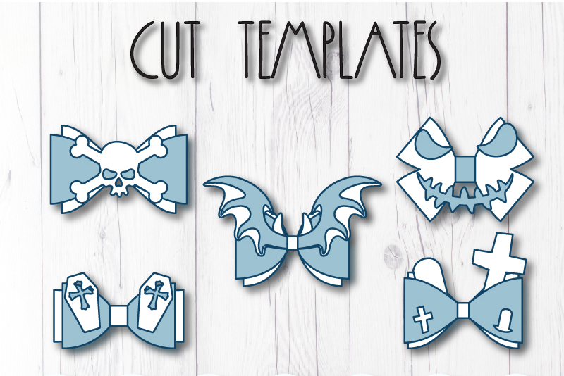 5 Hair bow template SVG, Halloween faux leather bow template example image 8