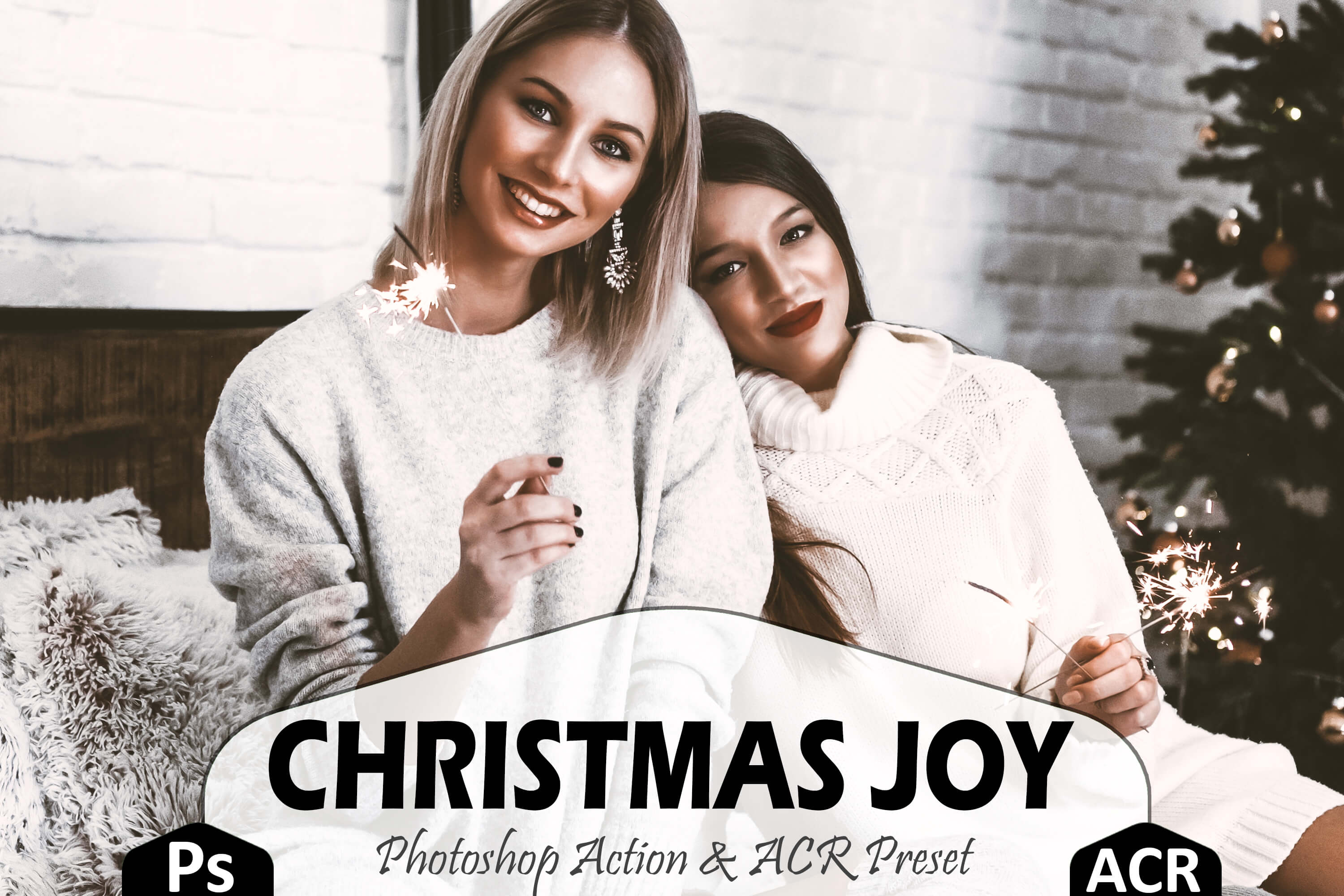 Christmas Joy Photoshop Actions And ACR Presets, brown Xmas example image 1