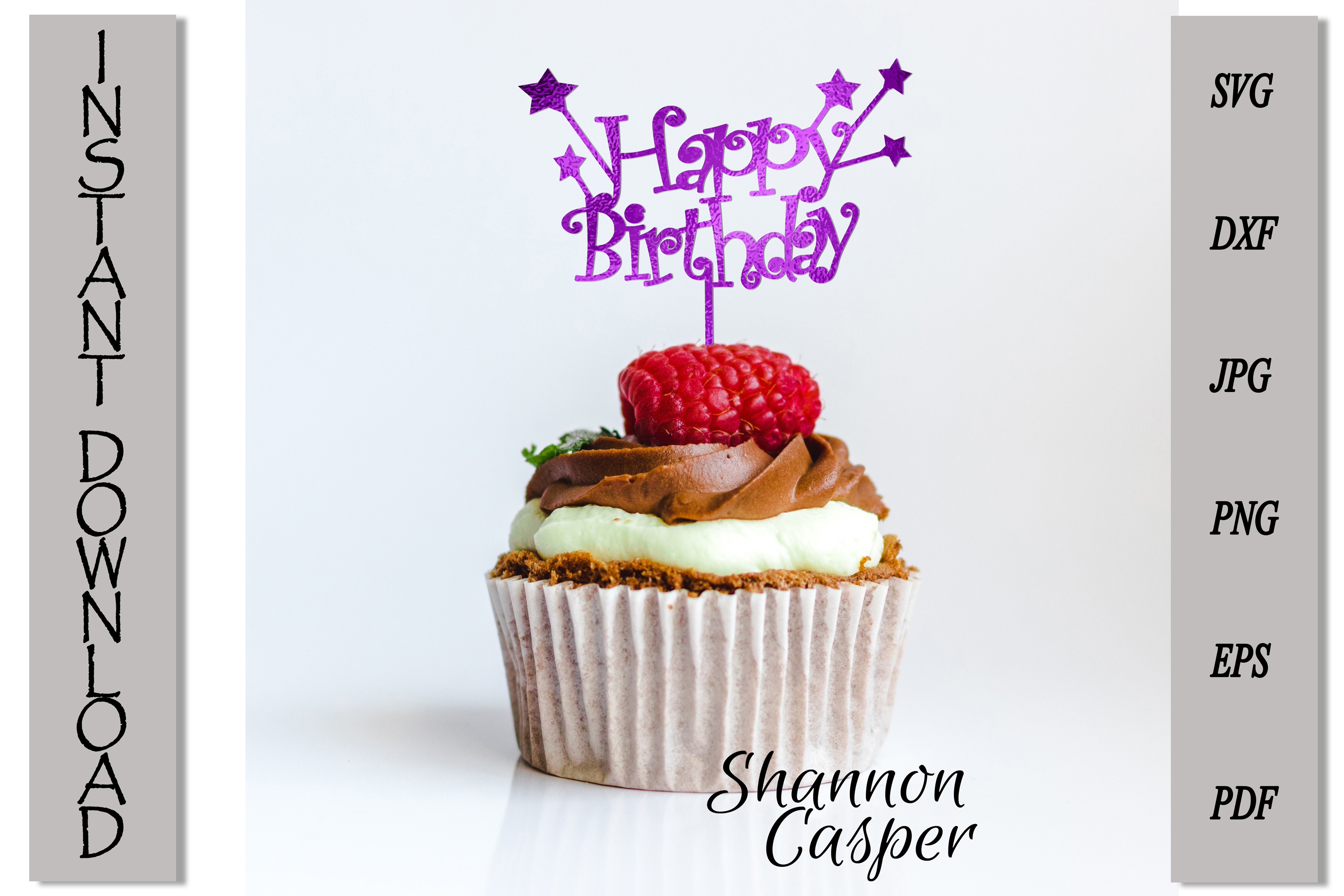 Happy Birthday Cake Topper with Stars example image 7