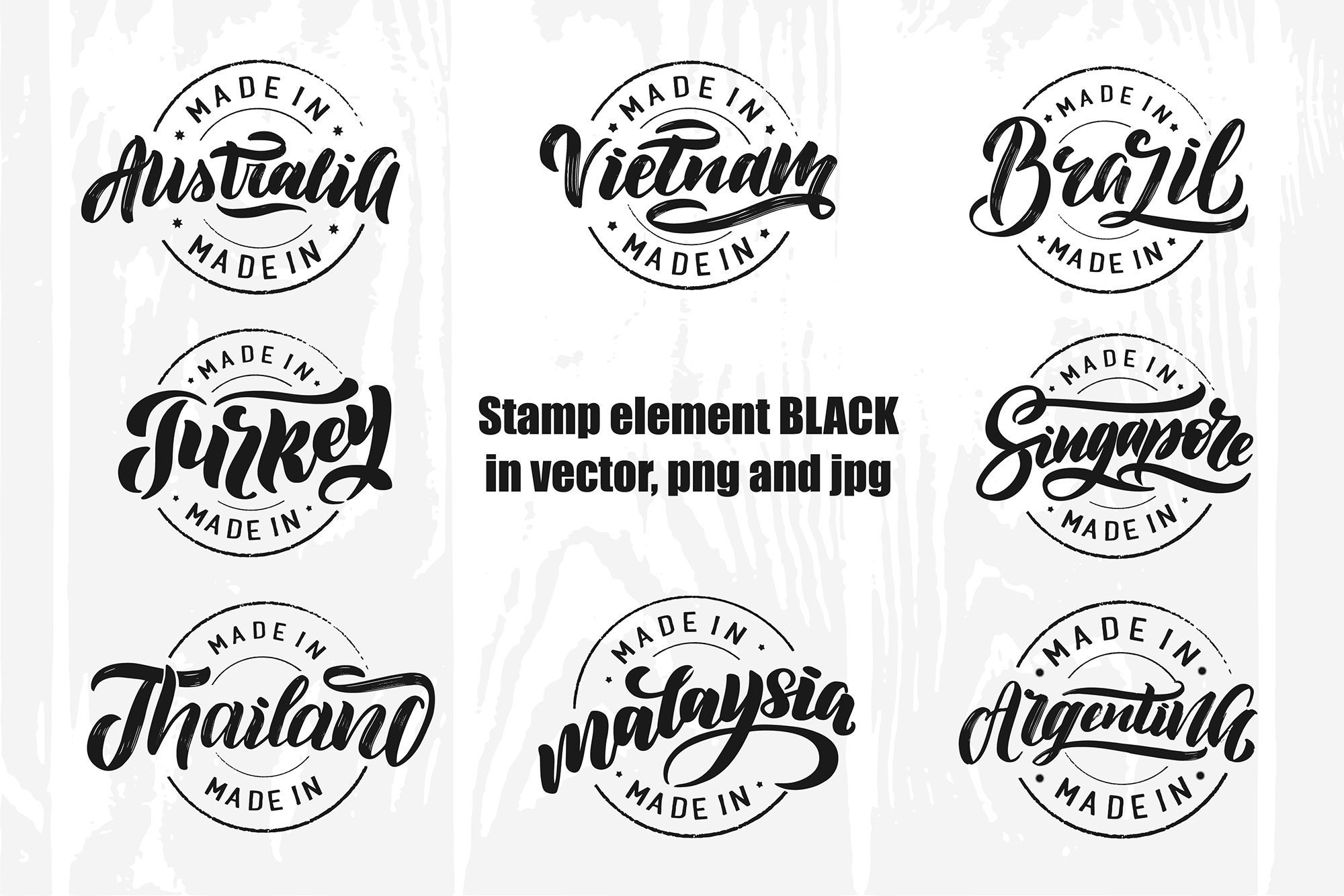 Logo stamp popular countries example image 3