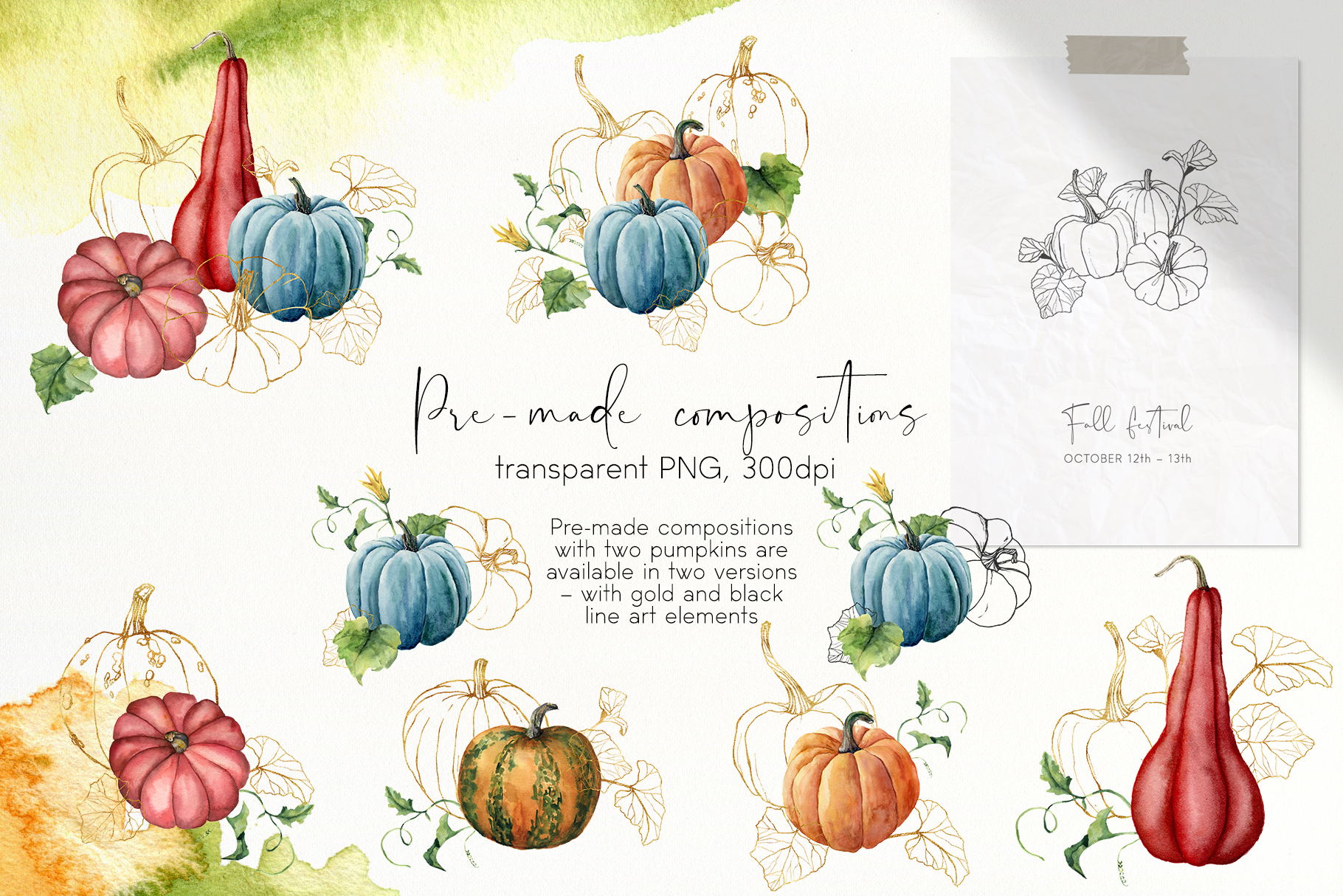 Pumpkins. Watercolor collection example image 6