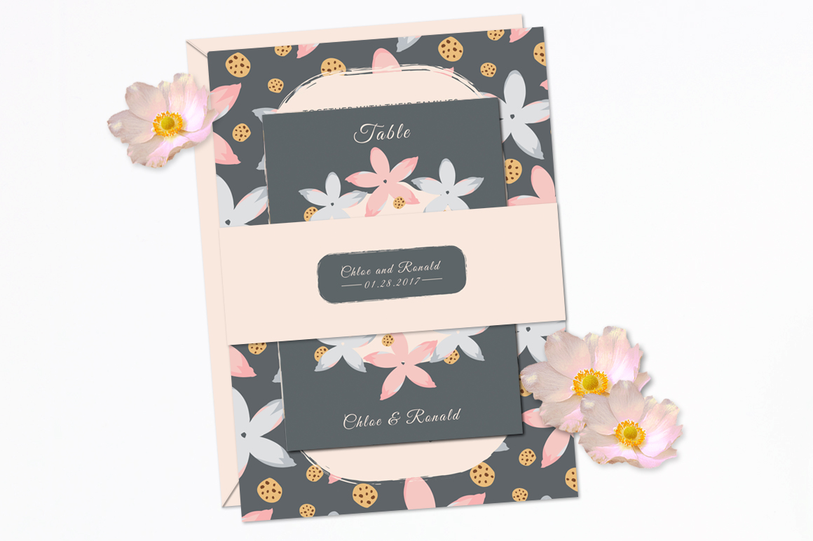 Modern Floral Wedding Invitation Set example image 5