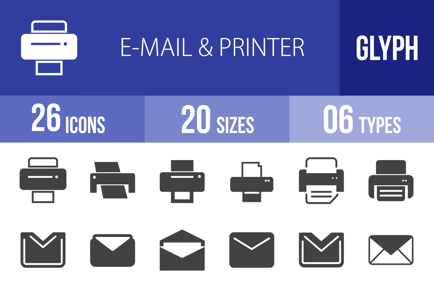 26 Email & Printer Glyph Icons example image 1