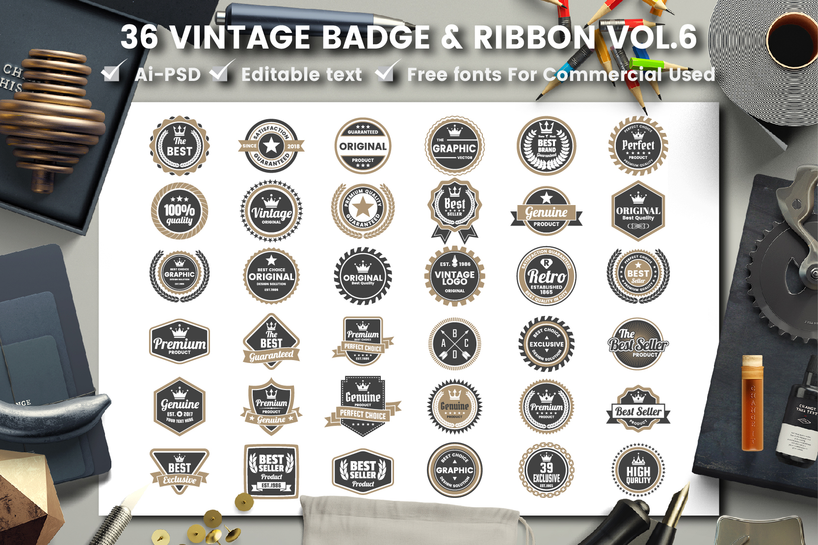 36 VINTAGE BADGE & RIBBON Vol.6 example image 1