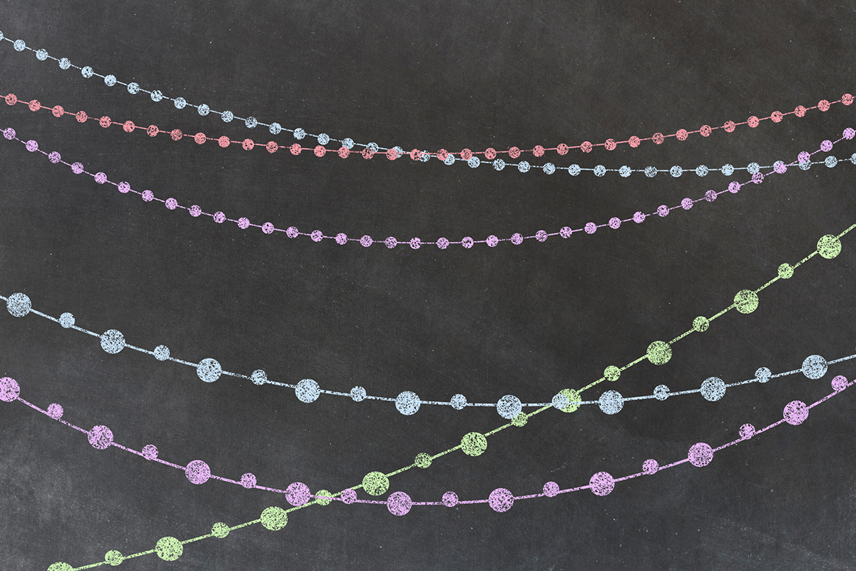 Chalkboard String Lights Clipart example image 3