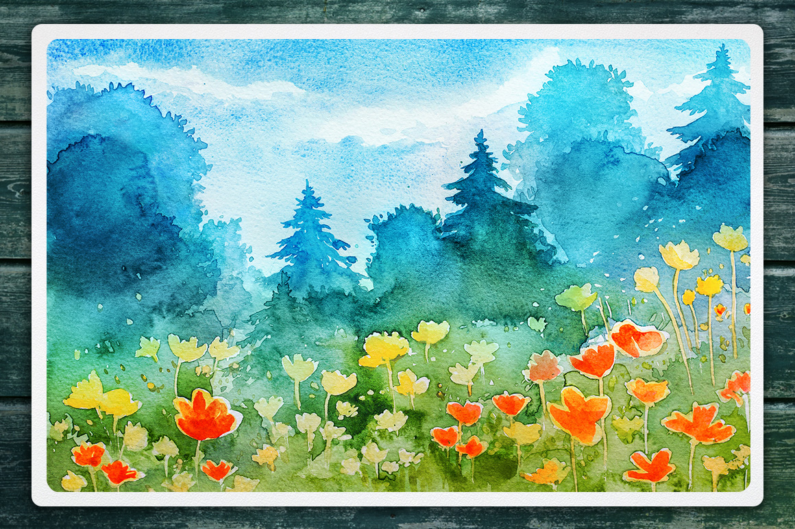Watercolor Vector Landscapes set#2 example image 5