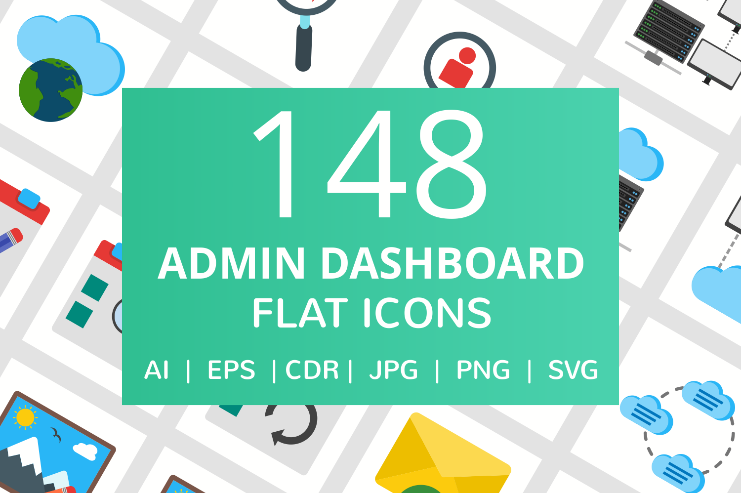 148 Admin Dashboard Flat Icons example image 1