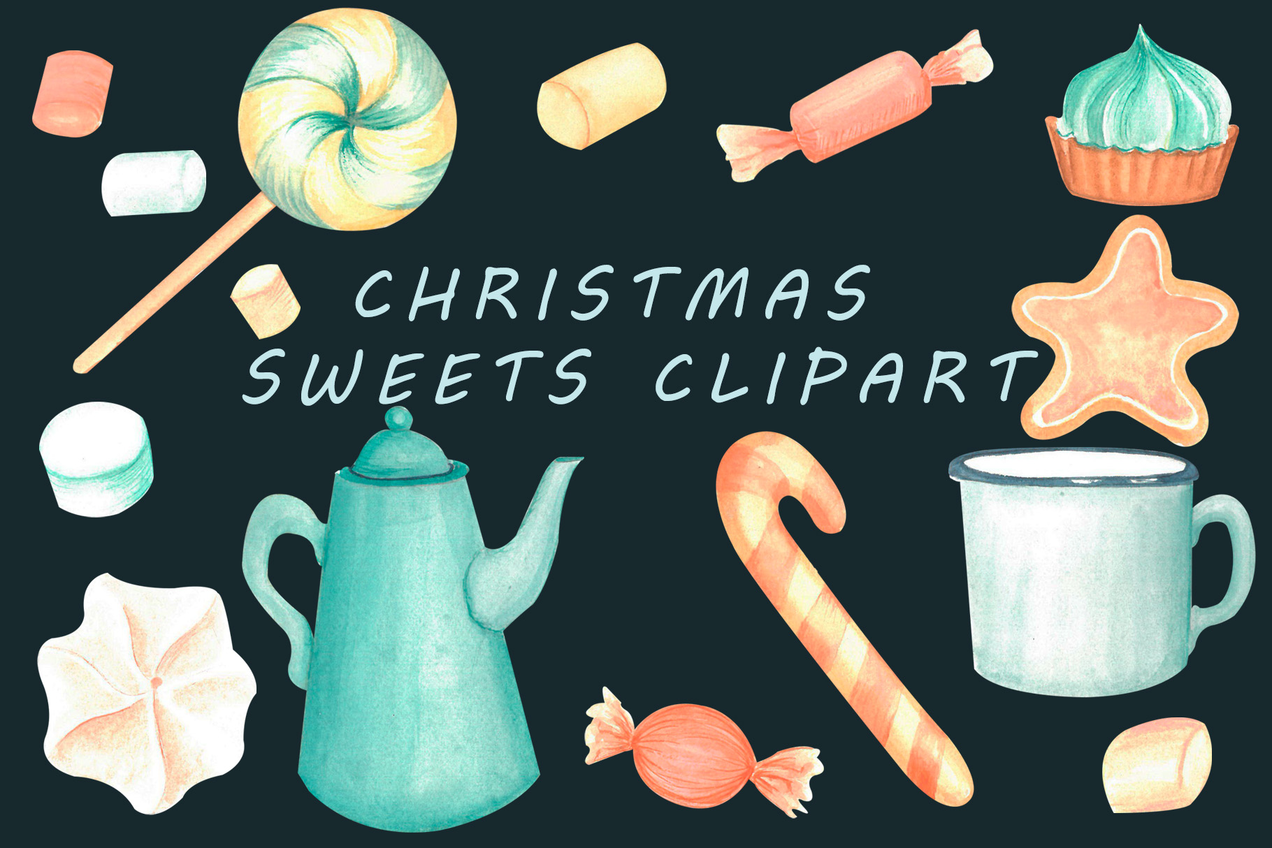 Christmas sweets watercolor clipart example image 1