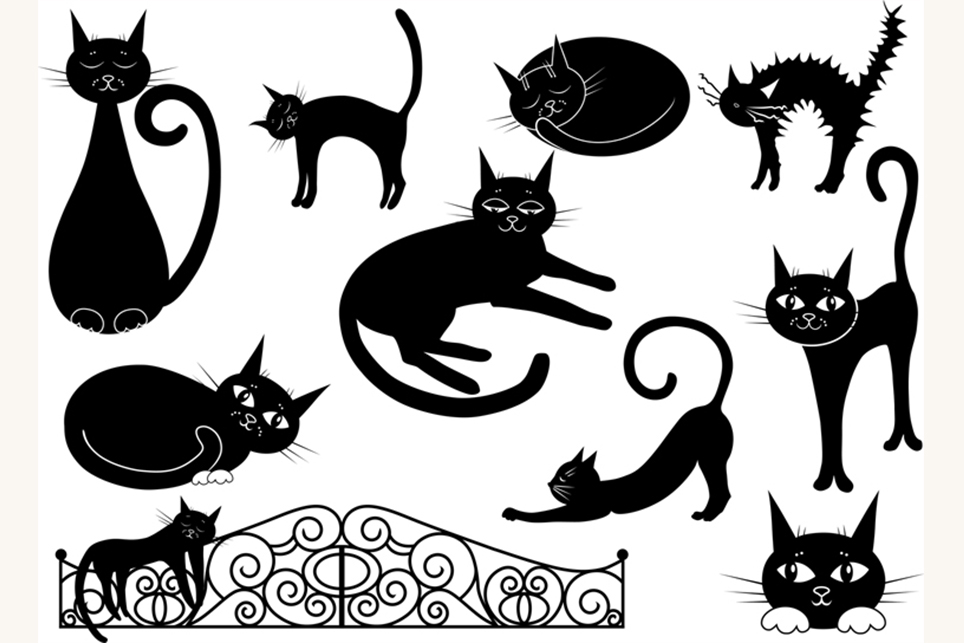 at clipart, black cat clipart, vector clipart, cartoon example image 1
