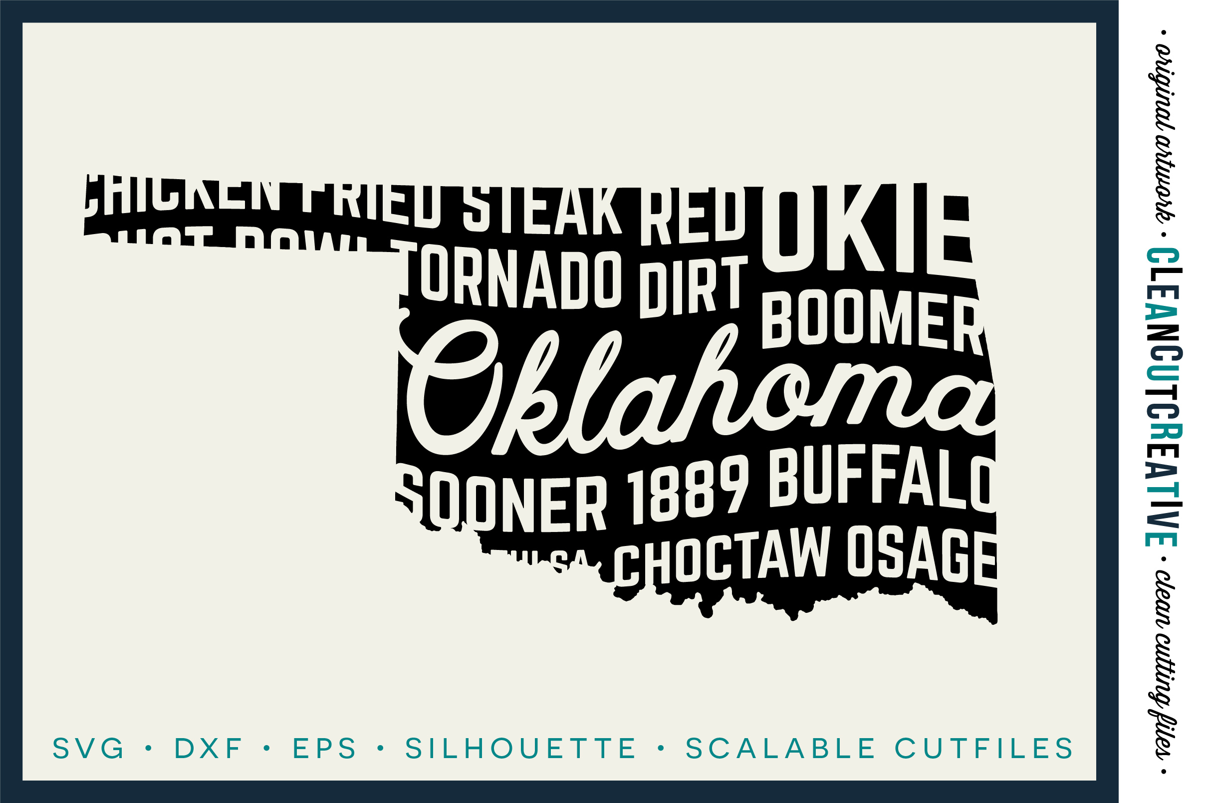 Oklahoma State design - SVG DXF EPS PNG - Cricut & Silhouette - clean cutting files example image 1