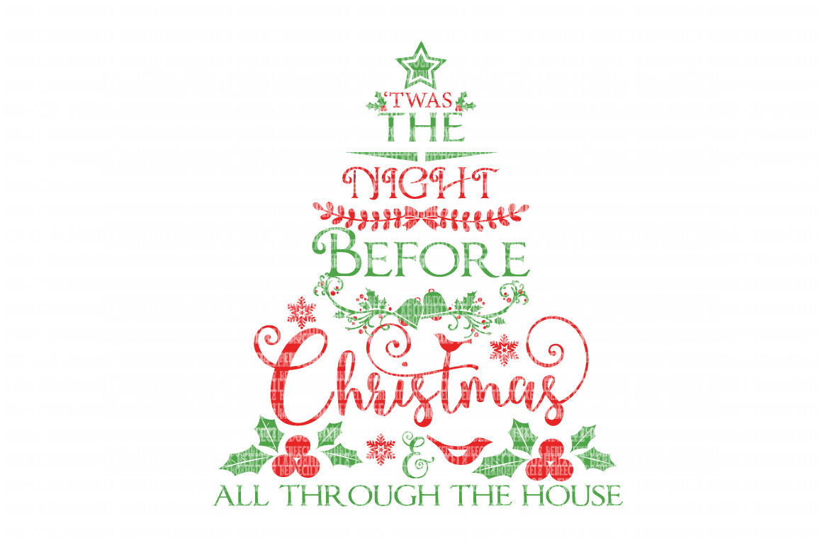 Twas The Night Before Christmas Christmas SVG FilesCut Files Heat Transfer Vinyl Scrapbooking Stencil EPS DXF Silhouette Cameo Cricut Commercial Use example image 2