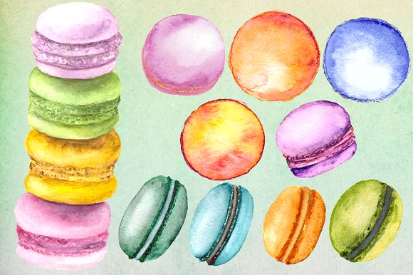 Watercolor Macaron Clip Art Set example image 2