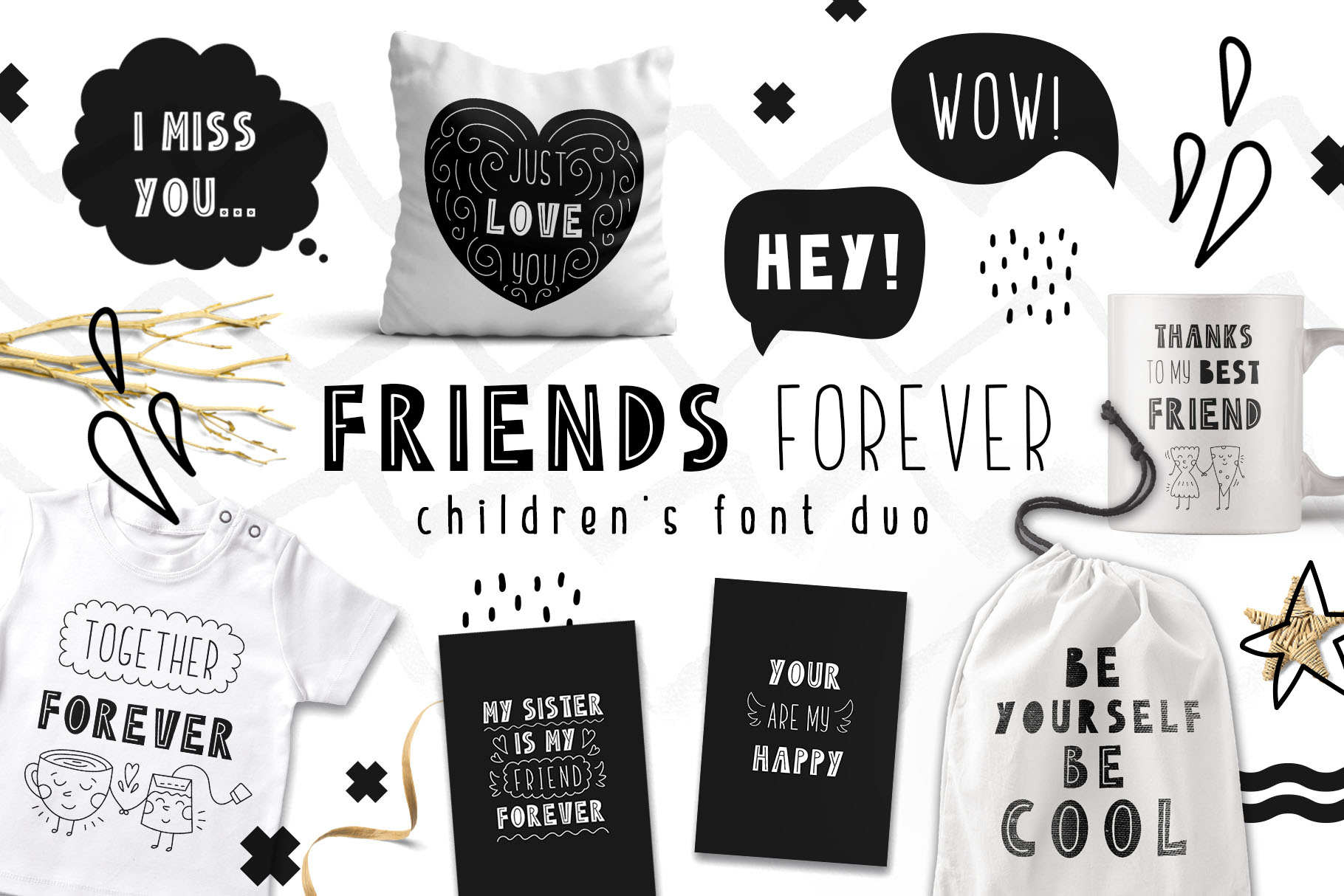 Friends Forever - Childrens font duo example image 1