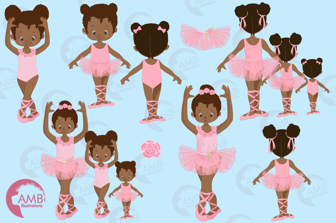 Ballerina sisters, ballerina friends, ballet clipart, graphics and illustrations AMB-2264 example image 4