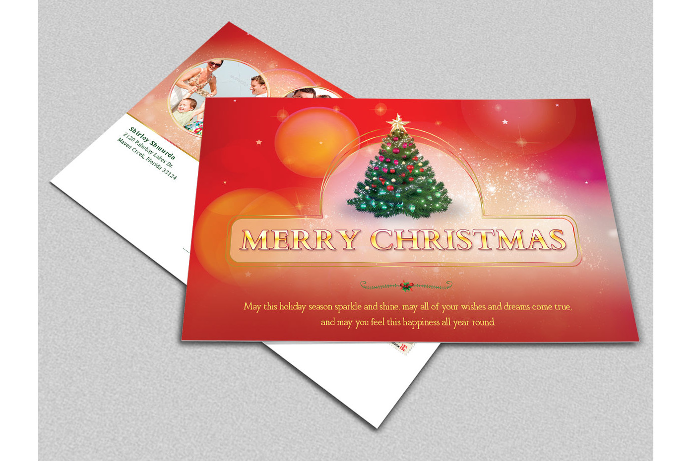 Merry Christmas Postcard Template