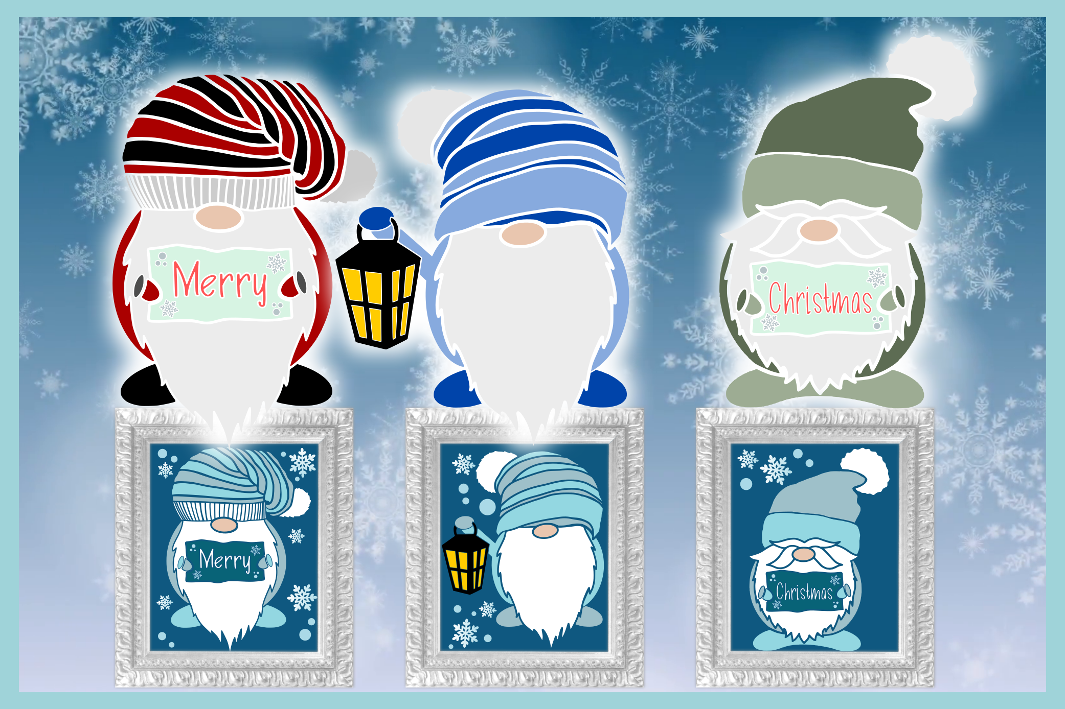 Merry Christmas Gnomes SVG Dxf Eps Png Pdf Files For Cricut example image 3