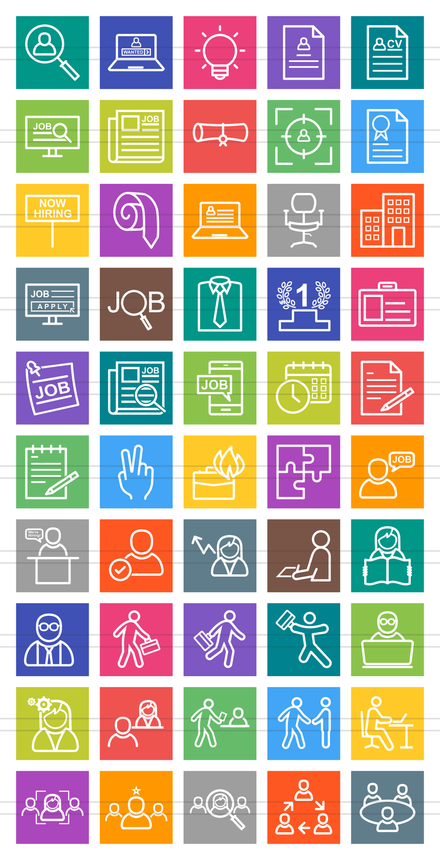 50 Employment Line Multicolor B/G Icons example image 2
