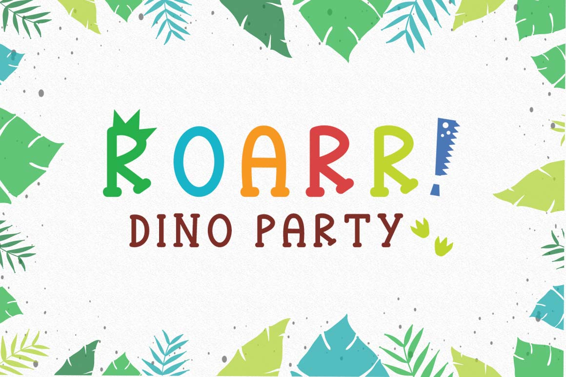 Roarr! dino party, a funny uppercase font example image 1