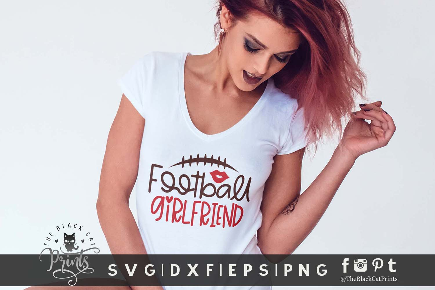 Football Girlfriend SVG DXF EPS PNG Football girl cut file example image 2