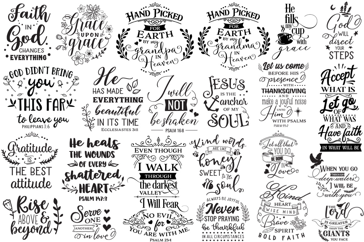 100 Religious Quotes Cut Files Pack example image 4