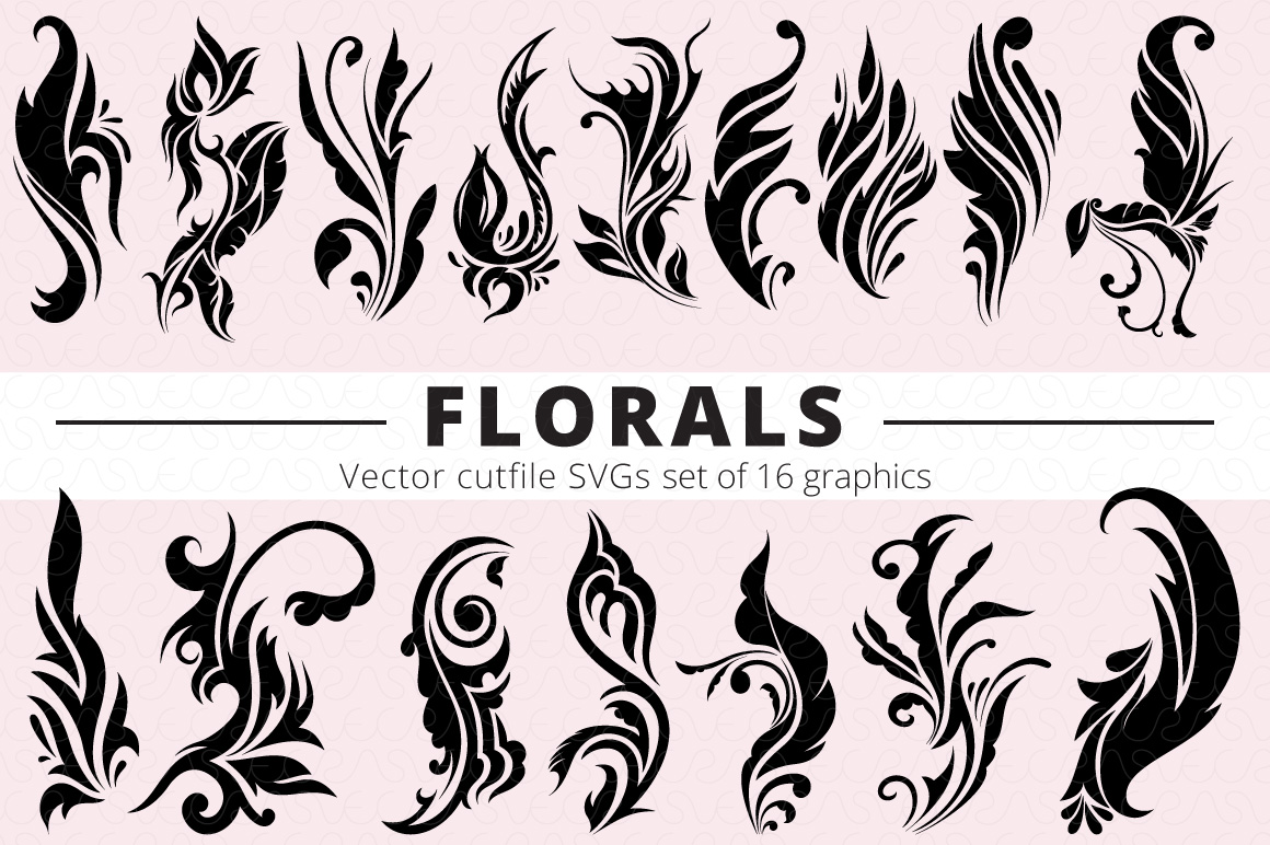 SVG Florals Cutfiles Bundle Pack of 270 vector graphic shape example image 13