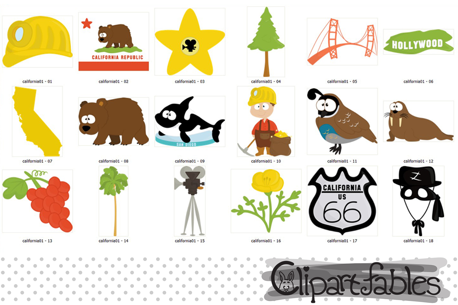 CALIFORNIA State clipart, Cute California bear - INSTANT art example image 2