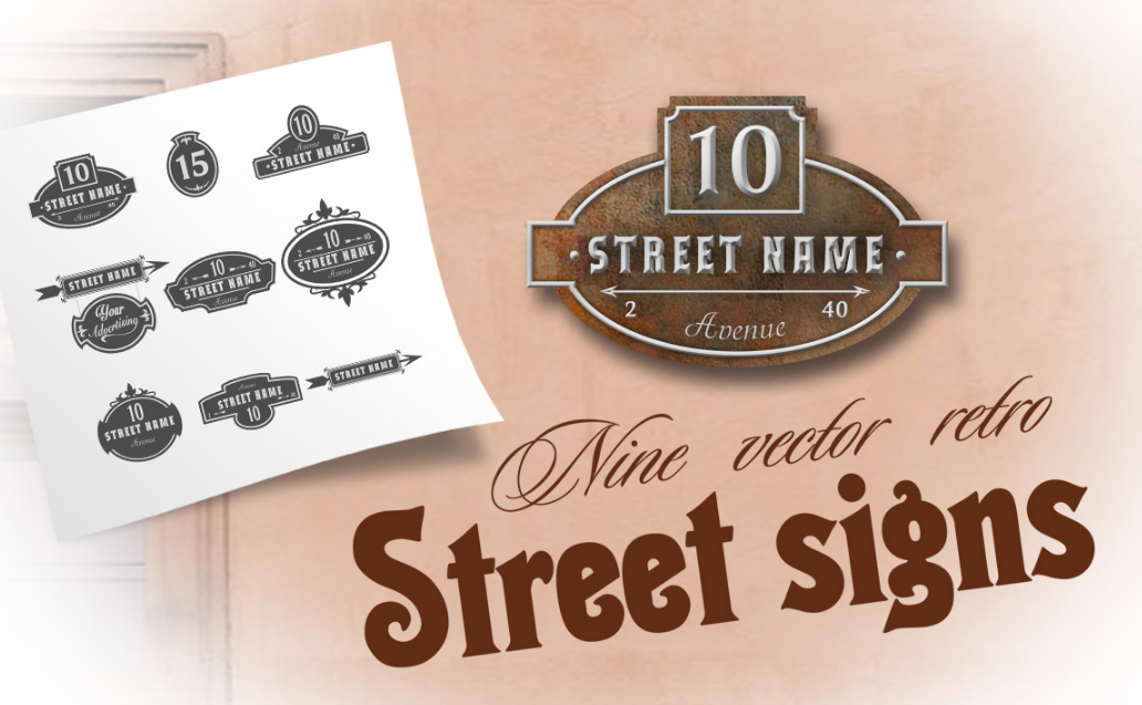 9 Vector retro street signs. example image 1