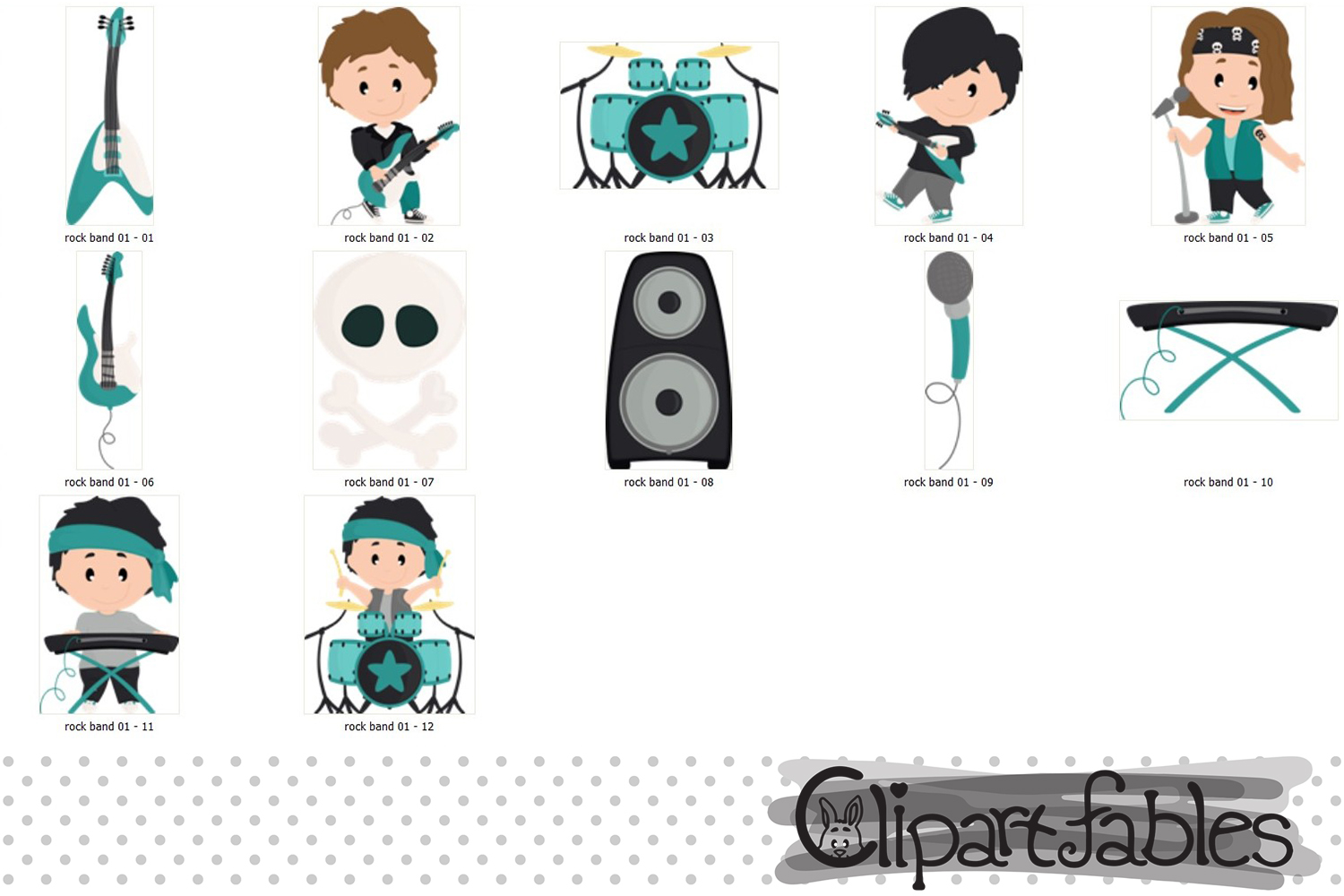 BOY Rock Star clipart, Music clip art - INSTANT download example image 2